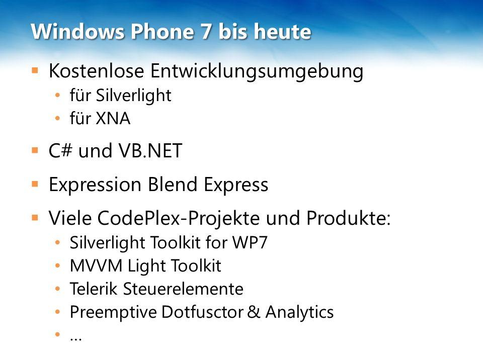 """Windows Phone 7 bis heute  Es ist nicht alles Gold was glänzt: Verpatzte Updates Pre-NoDo und NoDo WP7 ist noch nicht vollständig AR-Szenarien werden nicht unterstützt Anwendungen wie Skype sind nicht realisierbar Manche Funktionen sind nicht """"rund Datenbanken werden nicht nativ unterstützt Microsoft ist nicht """"cool"""