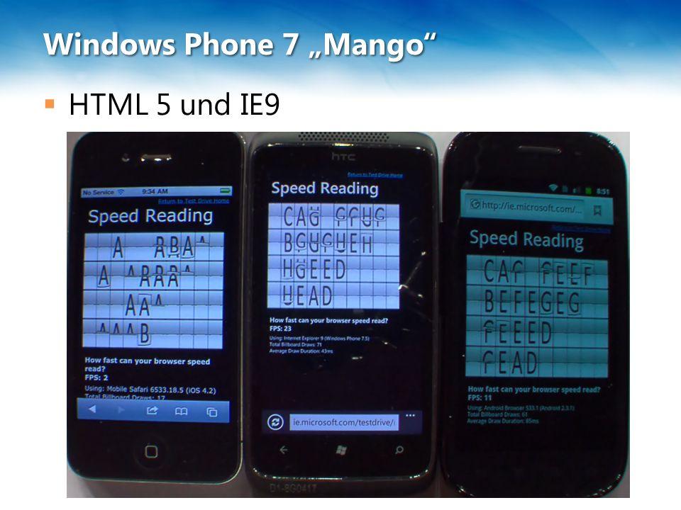 """Windows Phone 7 """"Mango  Was fehlt wahrscheinlich weiterhin: Bluetooth-Zugriff Ein """"Shared -Ordner Outlook-Synchronisation Erstellen von Diensten …"""
