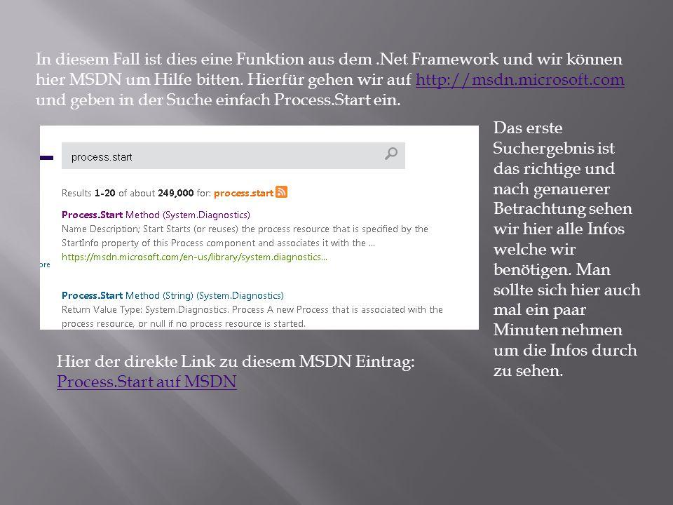 In diesem Fall ist dies eine Funktion aus dem.Net Framework und wir können hier MSDN um Hilfe bitten.