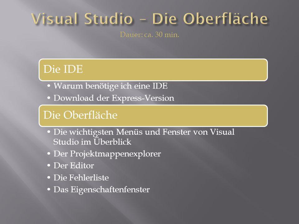 Die IDE Warum benötige ich eine IDE Download der Express-Version Die Oberfläche Die wichtigsten Menüs und Fenster von Visual Studio im Überblick Der Projektmappenexplorer Der Editor Die Fehlerliste Das Eigenschaftenfenster Dauer: ca.