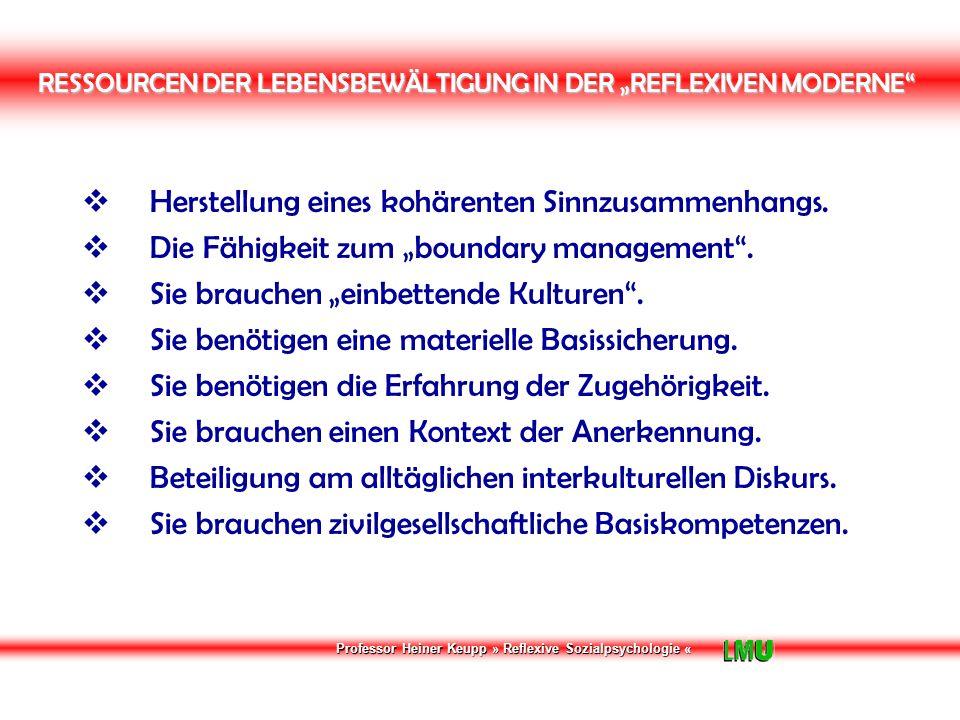 """Professor Heiner Keupp » Reflexive Sozialpsychologie « RESSOURCEN DER LEBENSBEWÄLTIGUNG IN DER """"REFLEXIVEN MODERNE  Herstellung eines kohärenten Sinnzusammenhangs."""