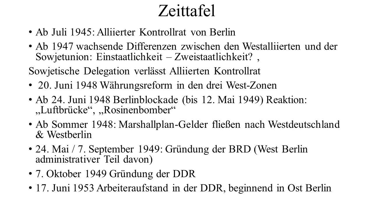 Zeittafel Ab Juli 1945: Alliierter Kontrollrat von Berlin Ab 1947 wachsende Differenzen zwischen den Westalliierten und der Sowjetunion: Einstaatlichkeit – Zweistaatlichkeit , Sowjetische Delegation verlässt Alliierten Kontrollrat 20.