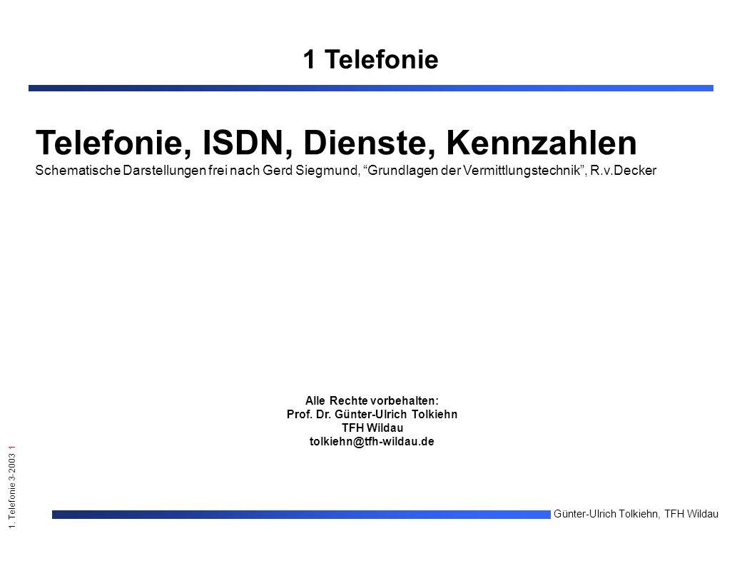 1. Telefonie 3-2003 1 Günter-Ulrich Tolkiehn, TFH Wildau Alle Rechte vorbehalten: Prof.