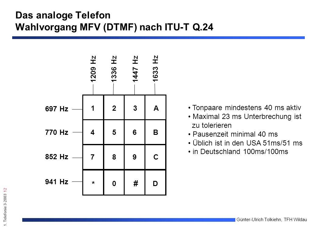 1. Telefonie 3-2003 12 Günter-Ulrich Tolkiehn, TFH Wildau 123A 456B 789C 0 * # D 697 Hz 770 Hz 852 Hz 941 Hz 1209 Hz1336 Hz1447 Hz 1633 Hz Das analoge