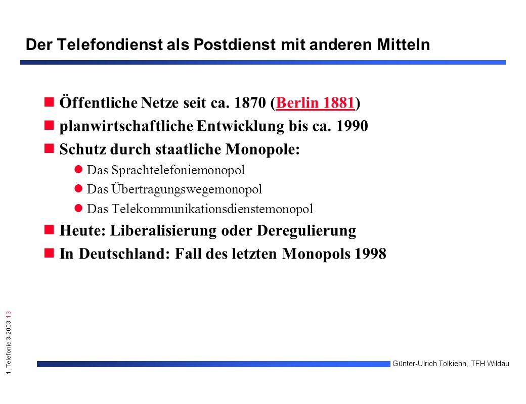 1. Telefonie 3-2003 13 Günter-Ulrich Tolkiehn, TFH Wildau Der Telefondienst als Postdienst mit anderen Mitteln Öffentliche Netze seit ca. 1870 (Berlin
