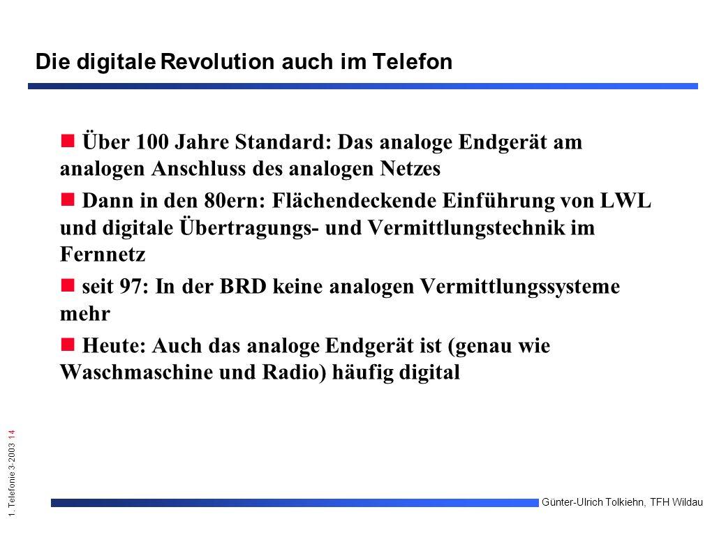 1. Telefonie 3-2003 14 Günter-Ulrich Tolkiehn, TFH Wildau Die digitale Revolution auch im Telefon Über 100 Jahre Standard: Das analoge Endgerät am ana