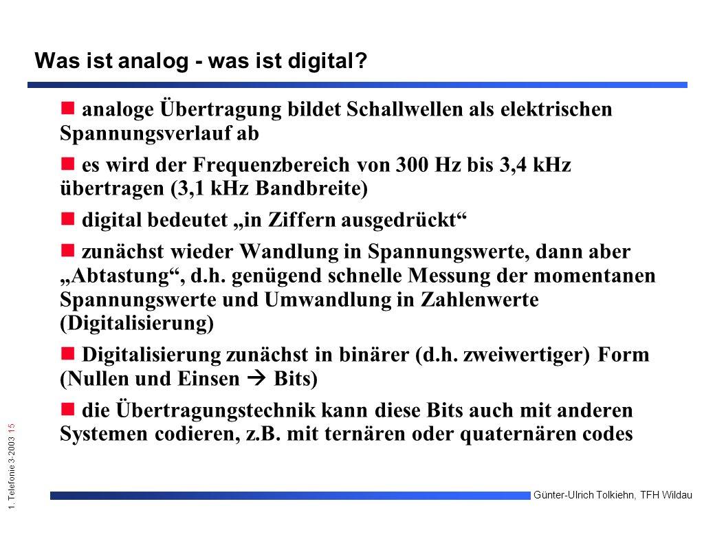 1. Telefonie 3-2003 15 Günter-Ulrich Tolkiehn, TFH Wildau Was ist analog - was ist digital.