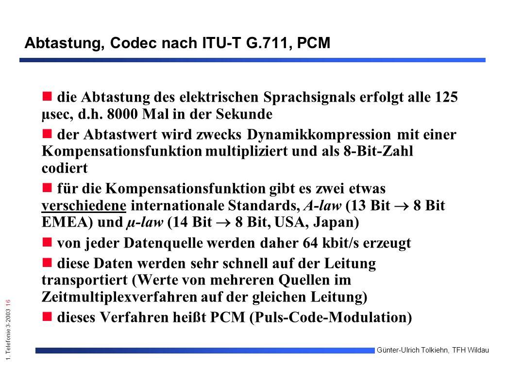 1. Telefonie 3-2003 16 Günter-Ulrich Tolkiehn, TFH Wildau Abtastung, Codec nach ITU-T G.711, PCM die Abtastung des elektrischen Sprachsignals erfolgt