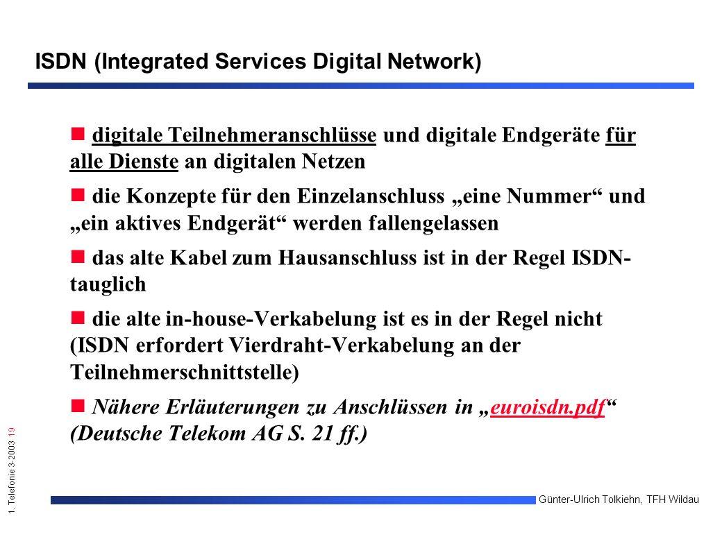 1. Telefonie 3-2003 19 Günter-Ulrich Tolkiehn, TFH Wildau ISDN (Integrated Services Digital Network) digitale Teilnehmeranschlüsse und digitale Endger