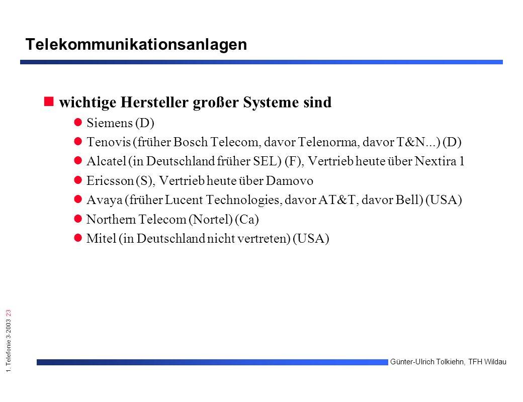 1. Telefonie 3-2003 23 Günter-Ulrich Tolkiehn, TFH Wildau Telekommunikationsanlagen wichtige Hersteller großer Systeme sind Siemens (D) Tenovis (frühe