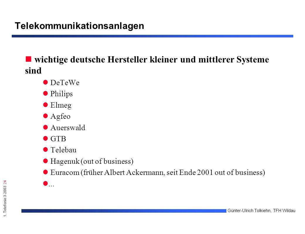 1. Telefonie 3-2003 24 Günter-Ulrich Tolkiehn, TFH Wildau Telekommunikationsanlagen wichtige deutsche Hersteller kleiner und mittlerer Systeme sind De