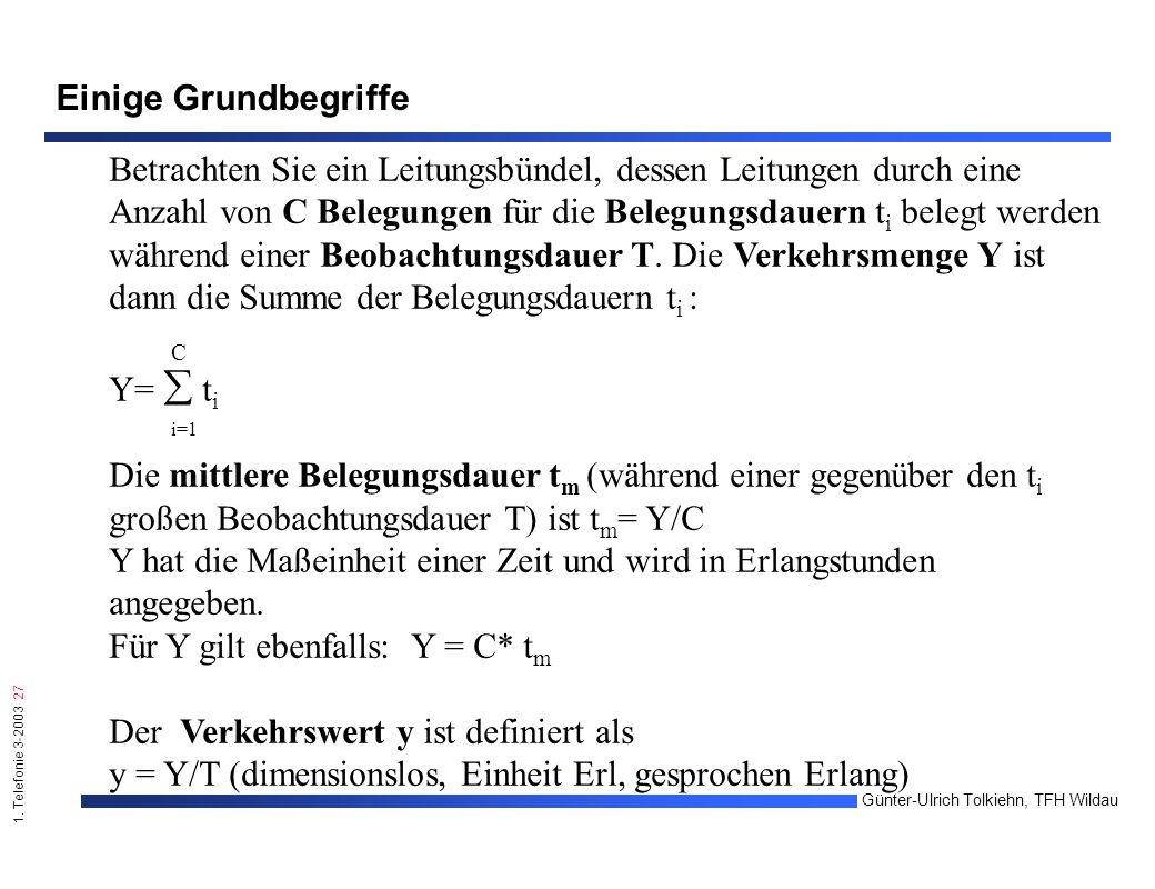1. Telefonie 3-2003 27 Günter-Ulrich Tolkiehn, TFH Wildau Einige Grundbegriffe Betrachten Sie ein Leitungsbündel, dessen Leitungen durch eine Anzahl v