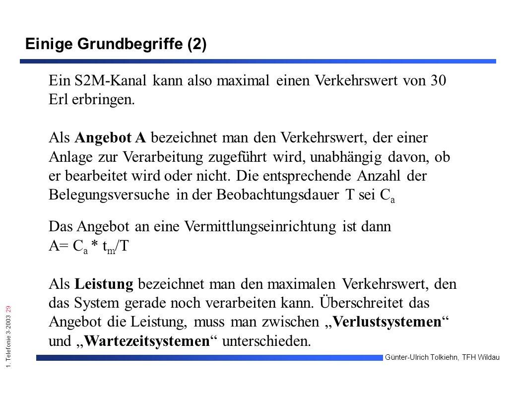 1. Telefonie 3-2003 29 Günter-Ulrich Tolkiehn, TFH Wildau Einige Grundbegriffe (2) Ein S2M-Kanal kann also maximal einen Verkehrswert von 30 Erl erbri