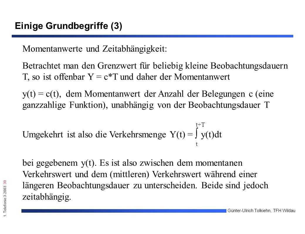 1. Telefonie 3-2003 30 Günter-Ulrich Tolkiehn, TFH Wildau Einige Grundbegriffe (3) Momentanwerte und Zeitabhängigkeit: Betrachtet man den Grenzwert fü