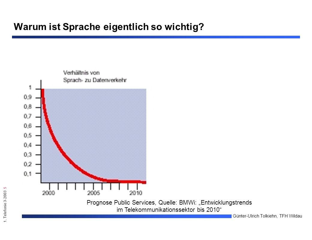 """1. Telefonie 3-2003 5 Günter-Ulrich Tolkiehn, TFH Wildau Prognose Public Services, Quelle: BMWi: """"Entwicklungstrends im Telekommunikationssektor bis 2"""