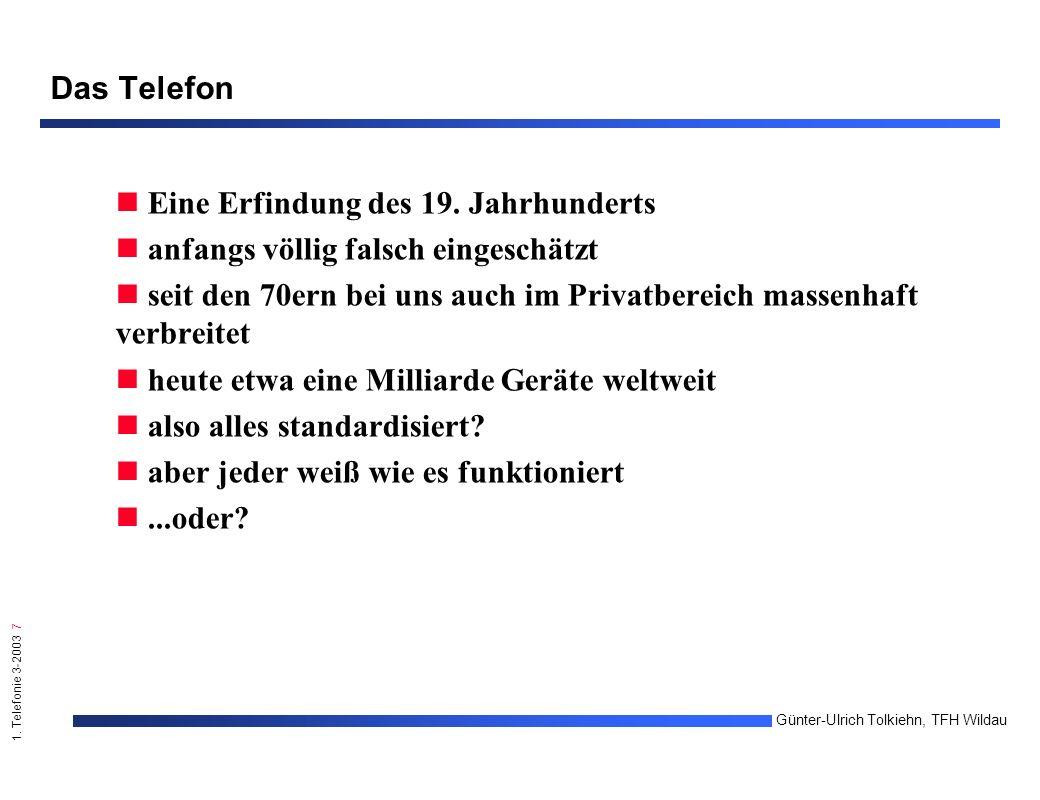 1.Telefonie 3-2003 28 Günter-Ulrich Tolkiehn, TFH Wildau A.