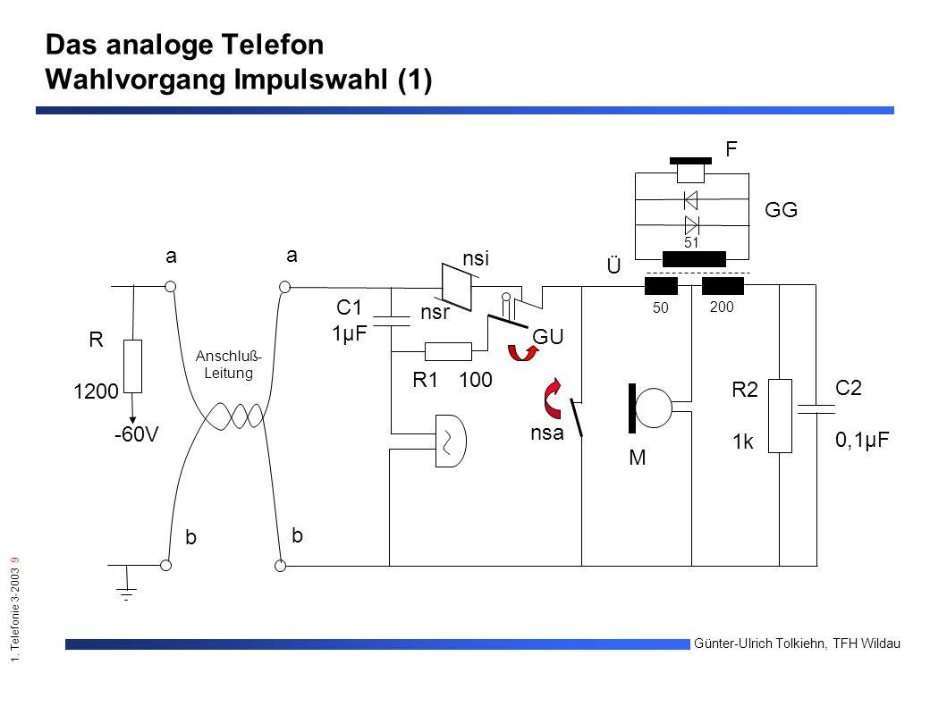 1. Telefonie 3-2003 9 Günter-Ulrich Tolkiehn, TFH Wildau b a nsi nsr GU C1 1µF R1 100 R2 1k C2 0,1µF M 50 200 51 F GG Ü nsa b a -60V R 1200 Anschluß-