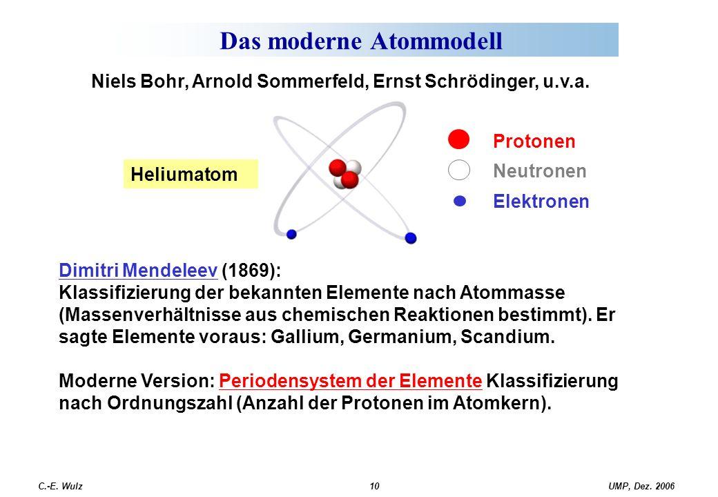 UMP, Dez. 2006C.-E. Wulz10 Das moderne Atommodell Protonen Neutronen Elektronen Heliumatom Dimitri Mendeleev (1869): Klassifizierung der bekannten Ele