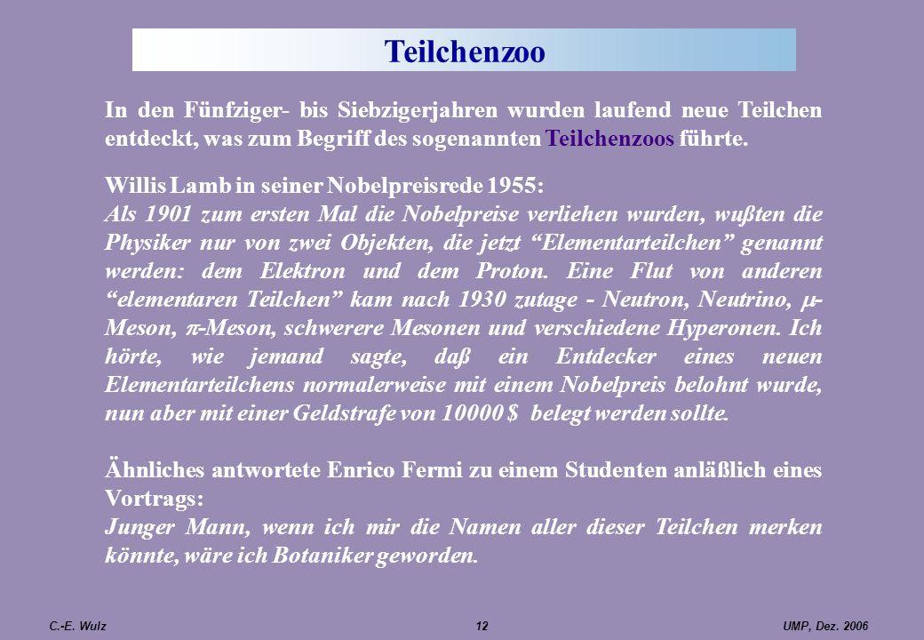 UMP, Dez. 2006C.-E. Wulz12 Teilchenzoo In den Fünfziger- bis Siebzigerjahren wurden laufend neue Teilchen entdeckt, was zum Begriff des sogenannten Te