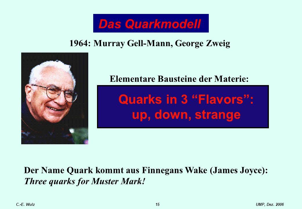 """UMP, Dez. 2006C.-E. Wulz15 Das Quarkmodell Elementare Bausteine der Materie: Quarks in 3 """"Flavors"""": up, down, strange 1964: Murray Gell-Mann, George Z"""