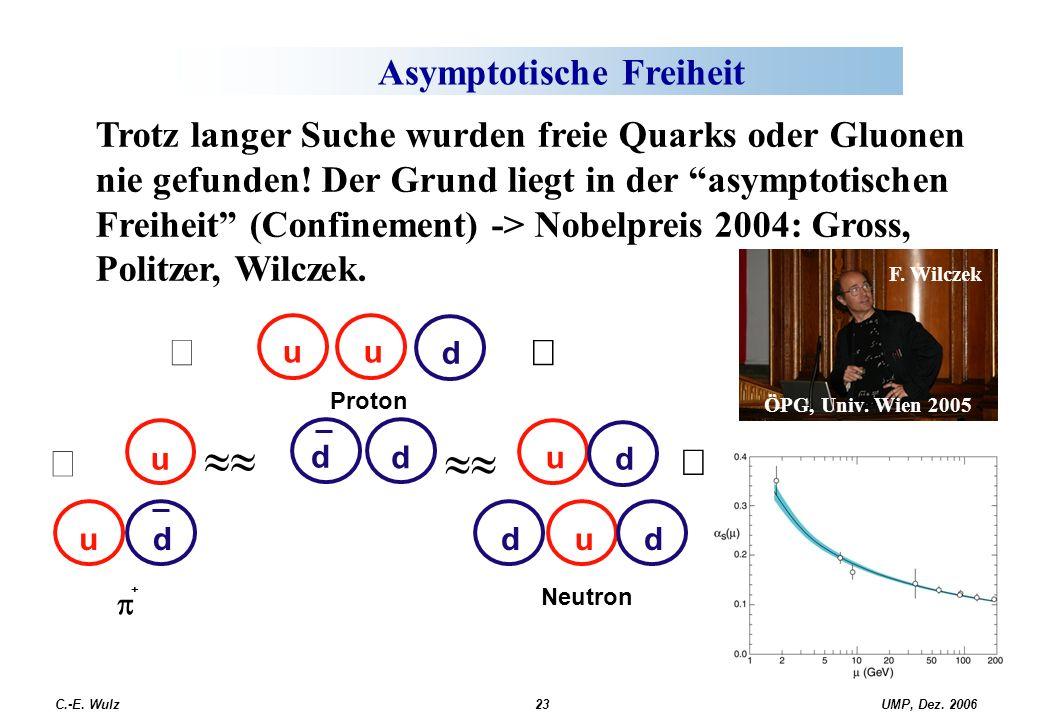 """UMP, Dez. 2006C.-E. Wulz23 Asymptotische Freiheit Trotz langer Suche wurden freie Quarks oder Gluonen nie gefunden! Der Grund liegt in der """"asymptotis"""
