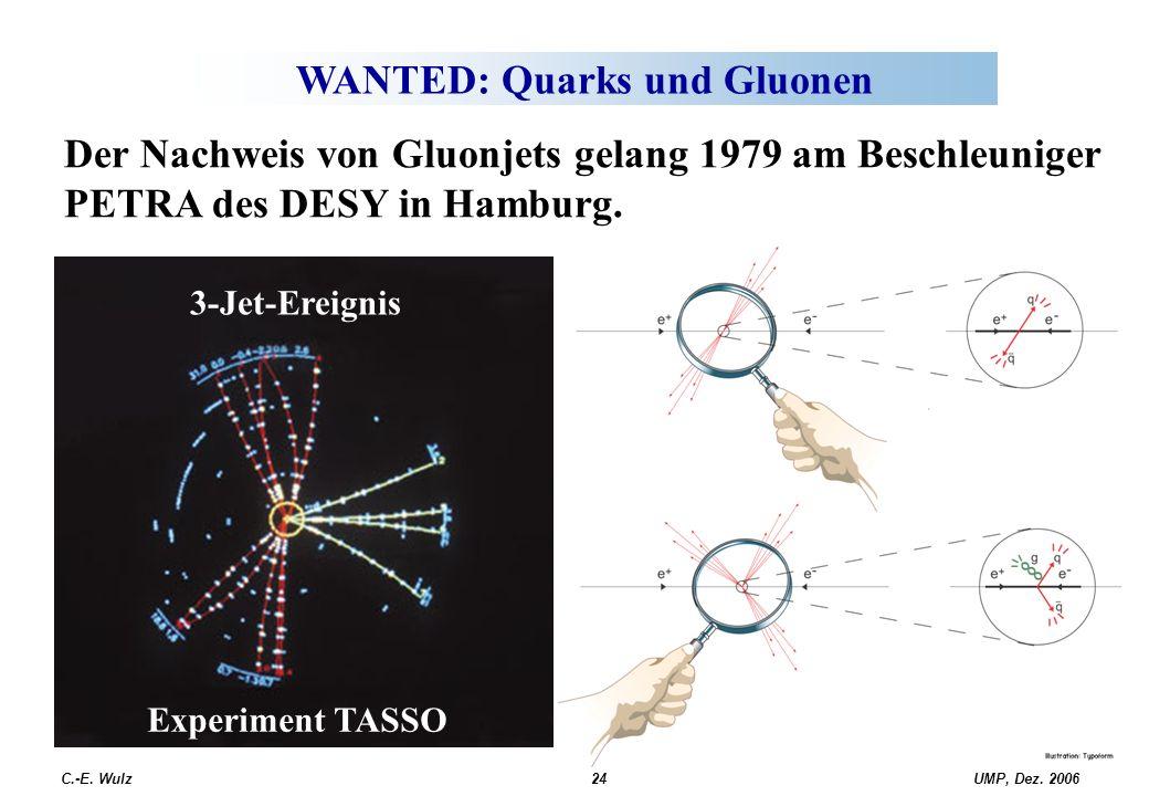 UMP, Dez. 2006C.-E. Wulz24 WANTED: Quarks und Gluonen 3-Jet-Ereignis Der Nachweis von Gluonjets gelang 1979 am Beschleuniger PETRA des DESY in Hamburg