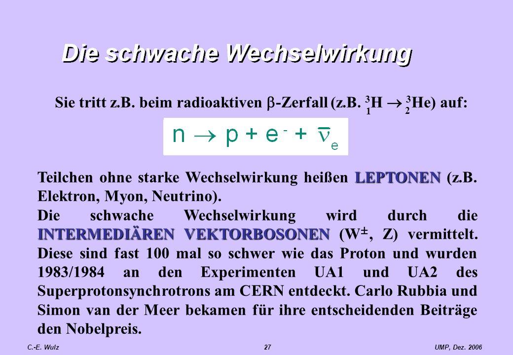 UMP, Dez. 2006C.-E. Wulz27 LEPTONEN Teilchen ohne starke Wechselwirkung heißen LEPTONEN (z.B. Elektron, Myon, Neutrino). INTERMEDIÄREN VEKTORBOSONEN D