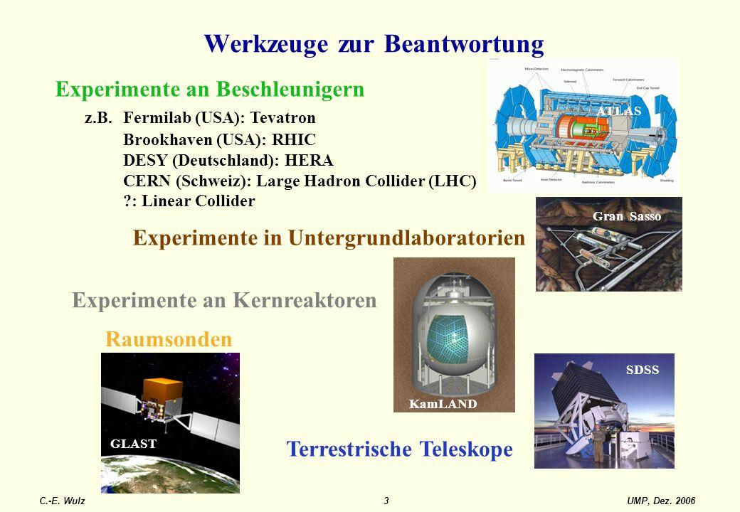 UMP, Dez. 2006C.-E. Wulz3 Werkzeuge zur Beantwortung Experimente an Beschleunigern z.B. Fermilab (USA): Tevatron Brookhaven (USA): RHIC DESY (Deutschl