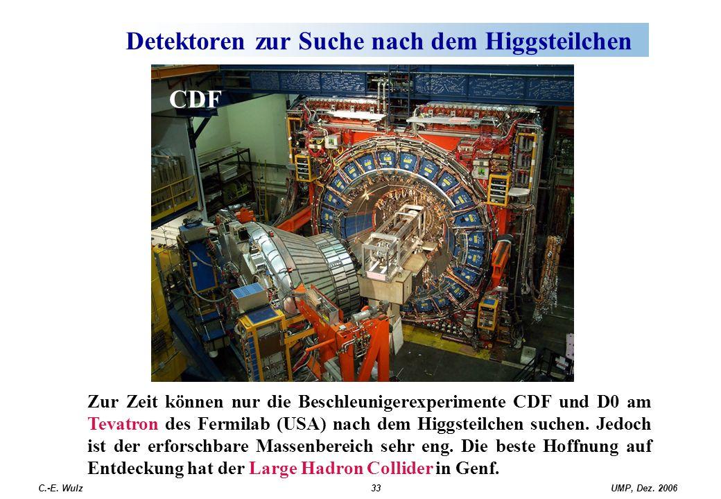 UMP, Dez. 2006C.-E. Wulz33 Detektoren zur Suche nach dem Higgsteilchen CDF Zur Zeit können nur die Beschleunigerexperimente CDF und D0 am Tevatron des