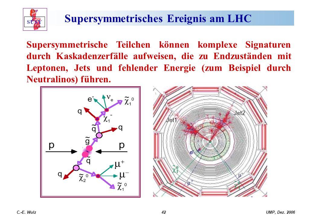 UMP, Dez. 2006C.-E. Wulz42 Supersymmetrisches Ereignis am LHC Supersymmetrische Teilchen können komplexe Signaturen durch Kaskadenzerfälle aufweisen,