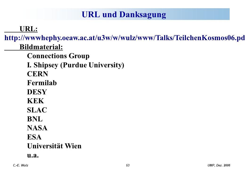 UMP, Dez. 2006C.-E. Wulz53 URL und Danksagung URL: http://wwwhephy.oeaw.ac.at/u3w/w/wulz/www/Talks/TeilchenKosmos06.pdf Bildmaterial: Connections Grou
