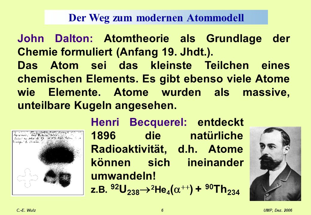UMP, Dez. 2006C.-E. Wulz6 Der Weg zum modernen Atommodell John Dalton: Atomtheorie als Grundlage der Chemie formuliert (Anfang 19. Jhdt.). Das Atom se