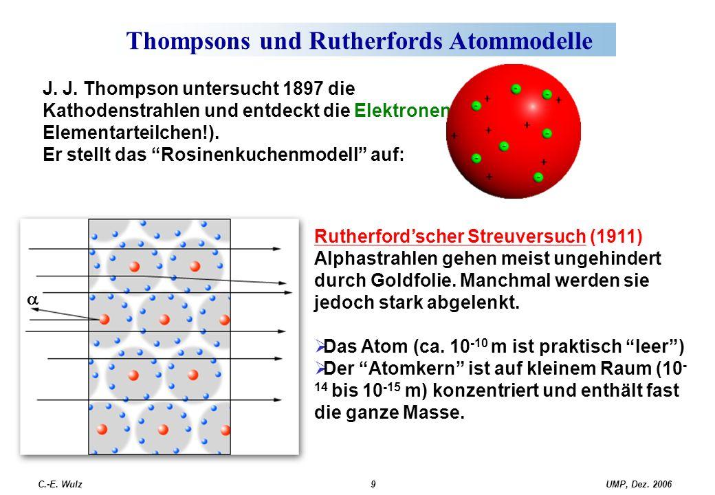 UMP, Dez. 2006C.-E. Wulz9 Thompsons und Rutherfords Atommodelle Rutherford'scher Streuversuch (1911) Alphastrahlen gehen meist ungehindert durch Goldf