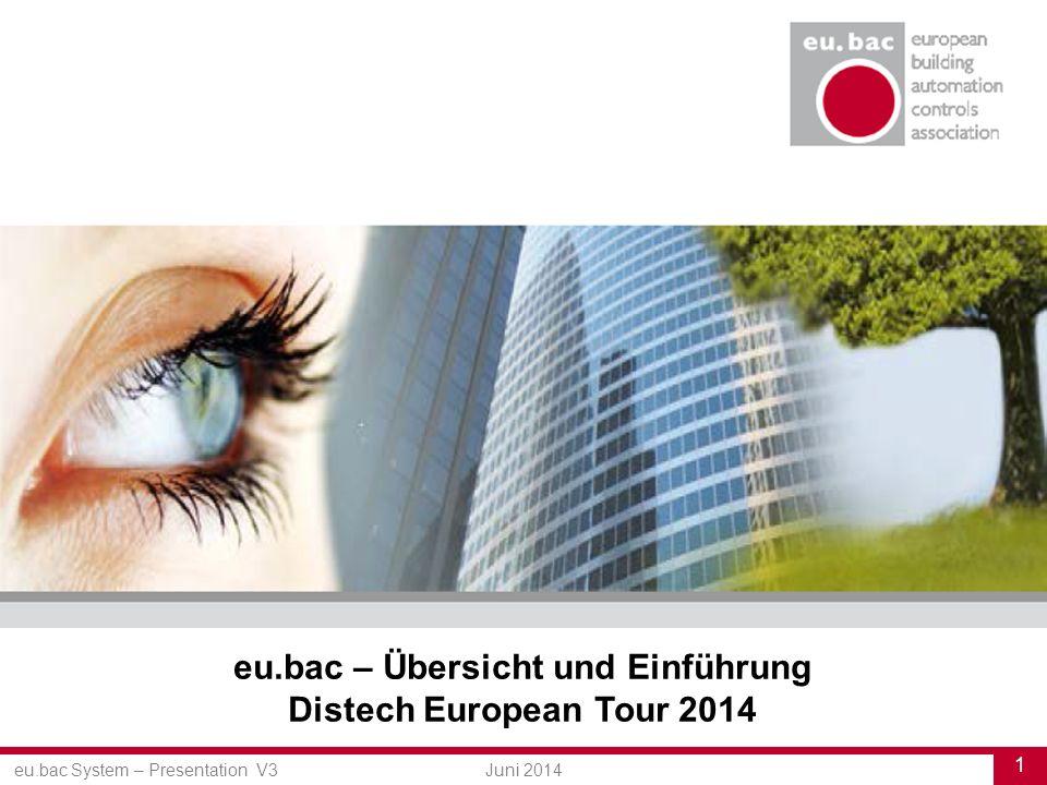 eu.bac System – Presentation V3 1 Juni 2014 eu.bac – Übersicht und Einführung Distech European Tour 2014