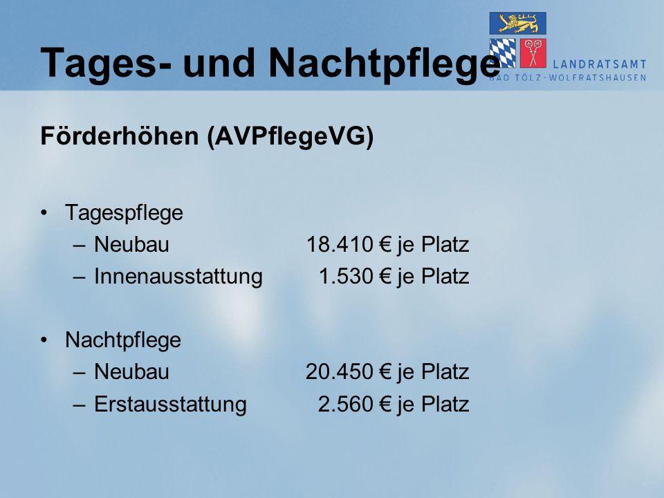 Tages- und Nachtpflege Förderhöhen (AVPflegeVG) Tagespflege –Neubau 18.410 € je Platz –Innenausstattung 1.530 € je Platz Nachtpflege –Neubau 20.450 €