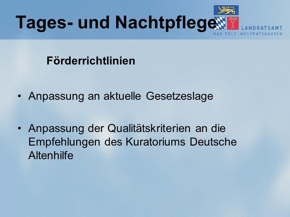 Tages- und Nachtpflege Förderrichtlinien Anpassung an aktuelle Gesetzeslage Anpassung der Qualitätskriterien an die Empfehlungen des Kuratoriums Deutsche Altenhilfe