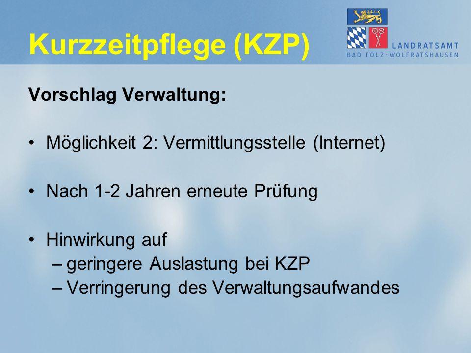 Kurzzeitpflege (KZP) Vorschlag Verwaltung: Möglichkeit 2: Vermittlungsstelle (Internet) Nach 1-2 Jahren erneute Prüfung Hinwirkung auf –geringere Auslastung bei KZP –Verringerung des Verwaltungsaufwandes