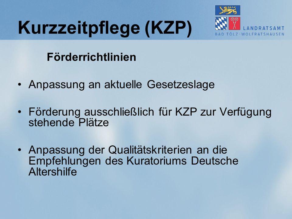 Kurzzeitpflege (KZP) Förderrichtlinien Anpassung an aktuelle Gesetzeslage Förderung ausschließlich für KZP zur Verfügung stehende Plätze Anpassung der