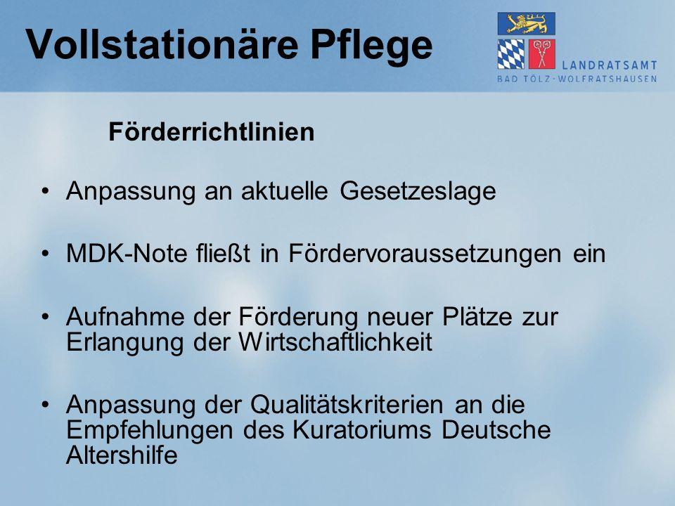 Vollstationäre Pflege Förderrichtlinien Anpassung an aktuelle Gesetzeslage MDK-Note fließt in Fördervoraussetzungen ein Aufnahme der Förderung neuer Plätze zur Erlangung der Wirtschaftlichkeit Anpassung der Qualitätskriterien an die Empfehlungen des Kuratoriums Deutsche Altershilfe
