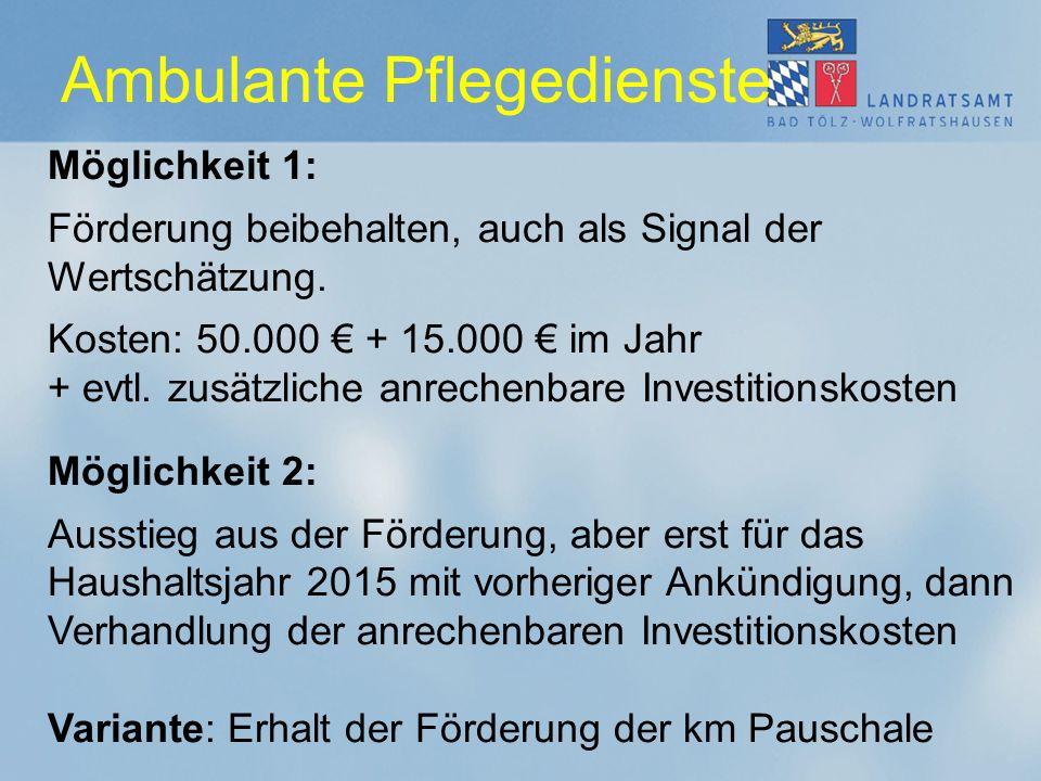 Ambulante Pflegedienste Möglichkeit 1: Förderung beibehalten, auch als Signal der Wertschätzung. Kosten: 50.000 € + 15.000 € im Jahr + evtl. zusätzlic