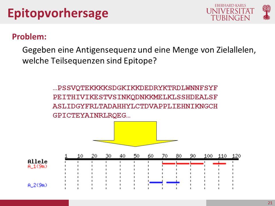 Epitopvorhersage Problem: Gegeben eine Antigensequenz und eine Menge von Zielallelen, welche Teilsequenzen sind Epitope? 21 …PSSVQTEKKKKSDGKIKKDEDRYKT