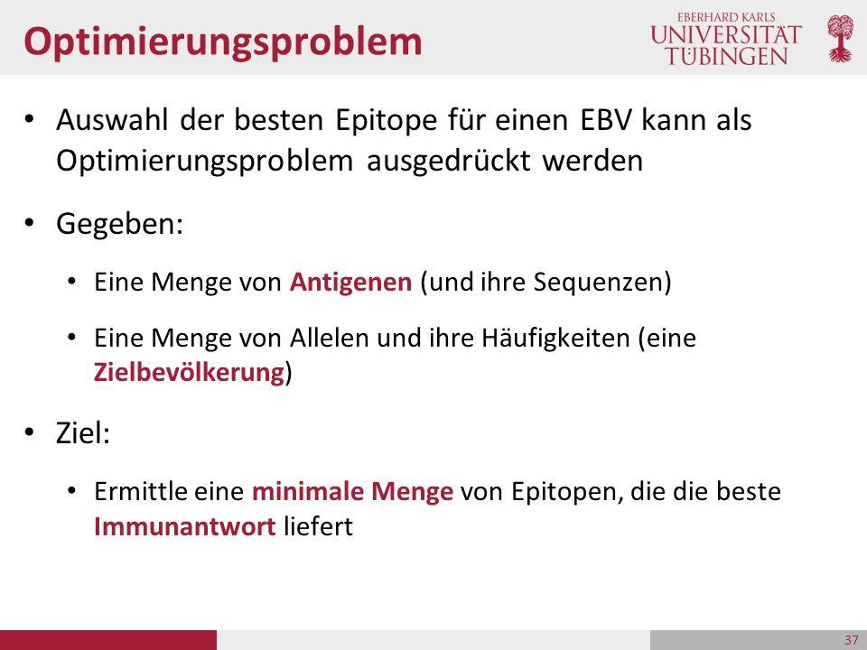 Optimierungsproblem Auswahl der besten Epitope für einen EBV kann als Optimierungsproblem ausgedrückt werden Gegeben: Eine Menge von Antigenen (und ih