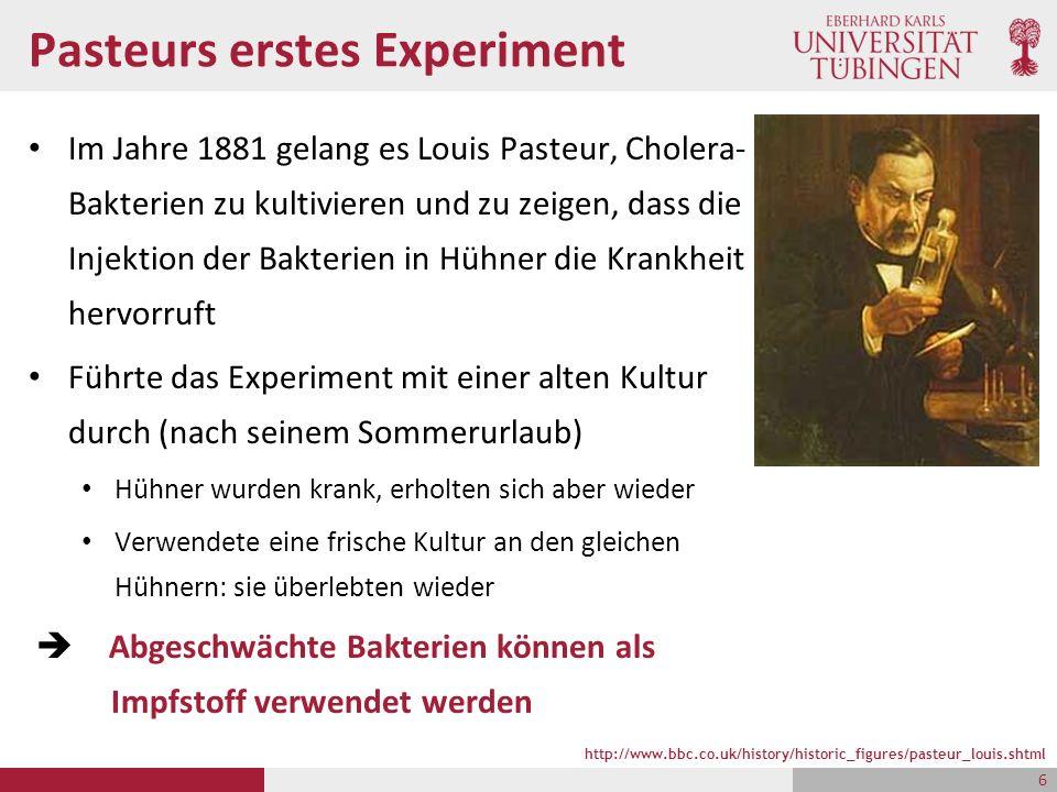 Pasteurs erstes Experiment Im Jahre 1881 gelang es Louis Pasteur, Cholera- Bakterien zu kultivieren und zu zeigen, dass die Injektion der Bakterien in Hühner die Krankheit hervorruft Führte das Experiment mit einer alten Kultur durch (nach seinem Sommerurlaub) Hühner wurden krank, erholten sich aber wieder Verwendete eine frische Kultur an den gleichen Hühnern: sie überlebten wieder  Abgeschwächte Bakterien können als Impfstoff verwendet werden http://www.bbc.co.uk/history/historic_figures/pasteur_louis.shtml 6