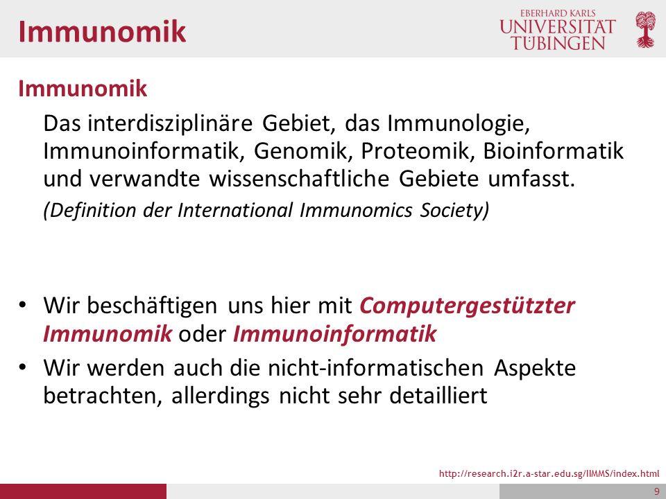 Immunomik Das interdisziplinäre Gebiet, das Immunologie, Immunoinformatik, Genomik, Proteomik, Bioinformatik und verwandte wissenschaftliche Gebiete umfasst.