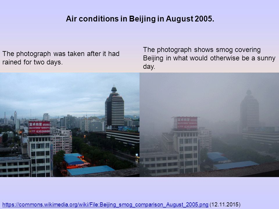 Air conditions in Beijing in August 2005.