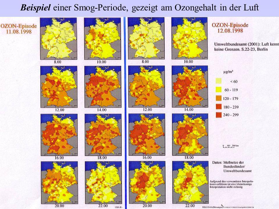 Beispiel einer Smog-Periode, gezeigt am Ozongehalt in der Luft
