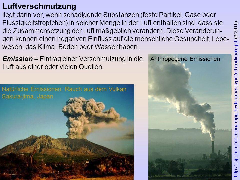 Luftverschmutzung liegt dann vor, wenn schädigende Substanzen (feste Partikel, Gase oder Flüssigkeitströpfchen) in solcher Menge in der Luft enthalten