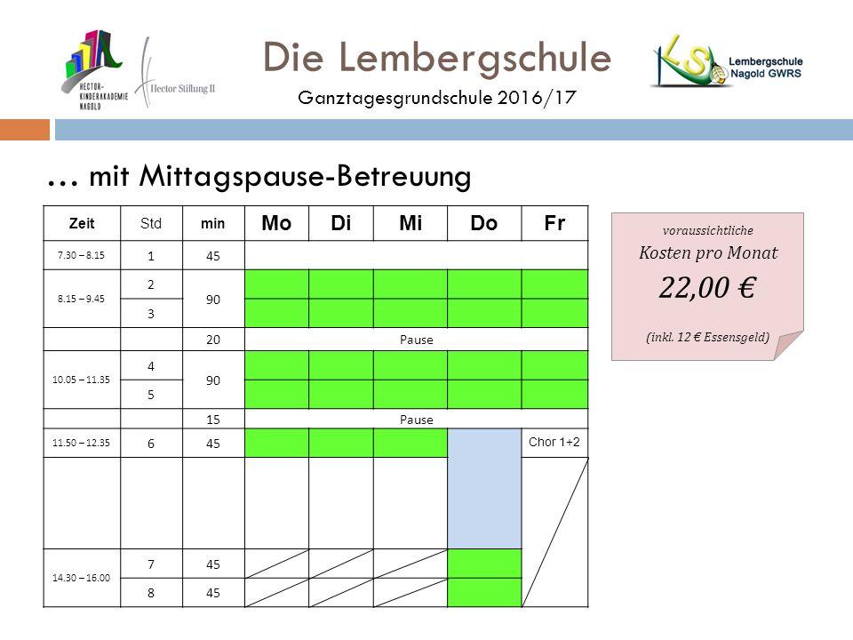 Die Lembergschule Ganztagesgrundschule 2016/17 … mit Mittagspause-Betreuung ZeitStdmin MoDiMiDoFr 7.30 – 8.15 145 8.15 – 9.45 2 90 3 20Pause 10.05 – 11.35 4 90 5 15Pause 11.50 – 12.35 645 Chor 1+2 14.30 – 16.00 745 8 voraussichtliche Kosten pro Monat 22,00 € (inkl.