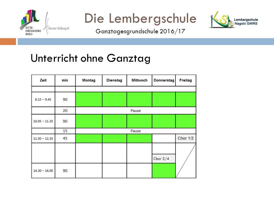 Die Lembergschule Ganztagesgrundschule 2016/17 Unterricht ohne Ganztag