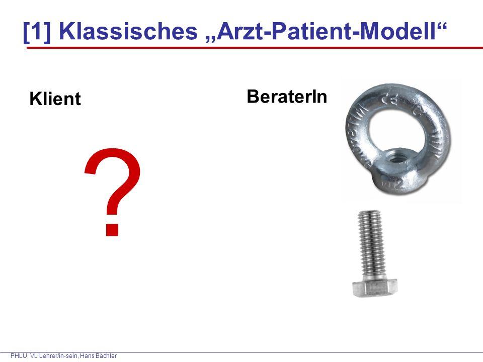 """PHLU, VL Lehrer/in-sein, Hans Bächler [1] Klassisches """"Arzt-Patient-Modell Klient BeraterIn ?"""